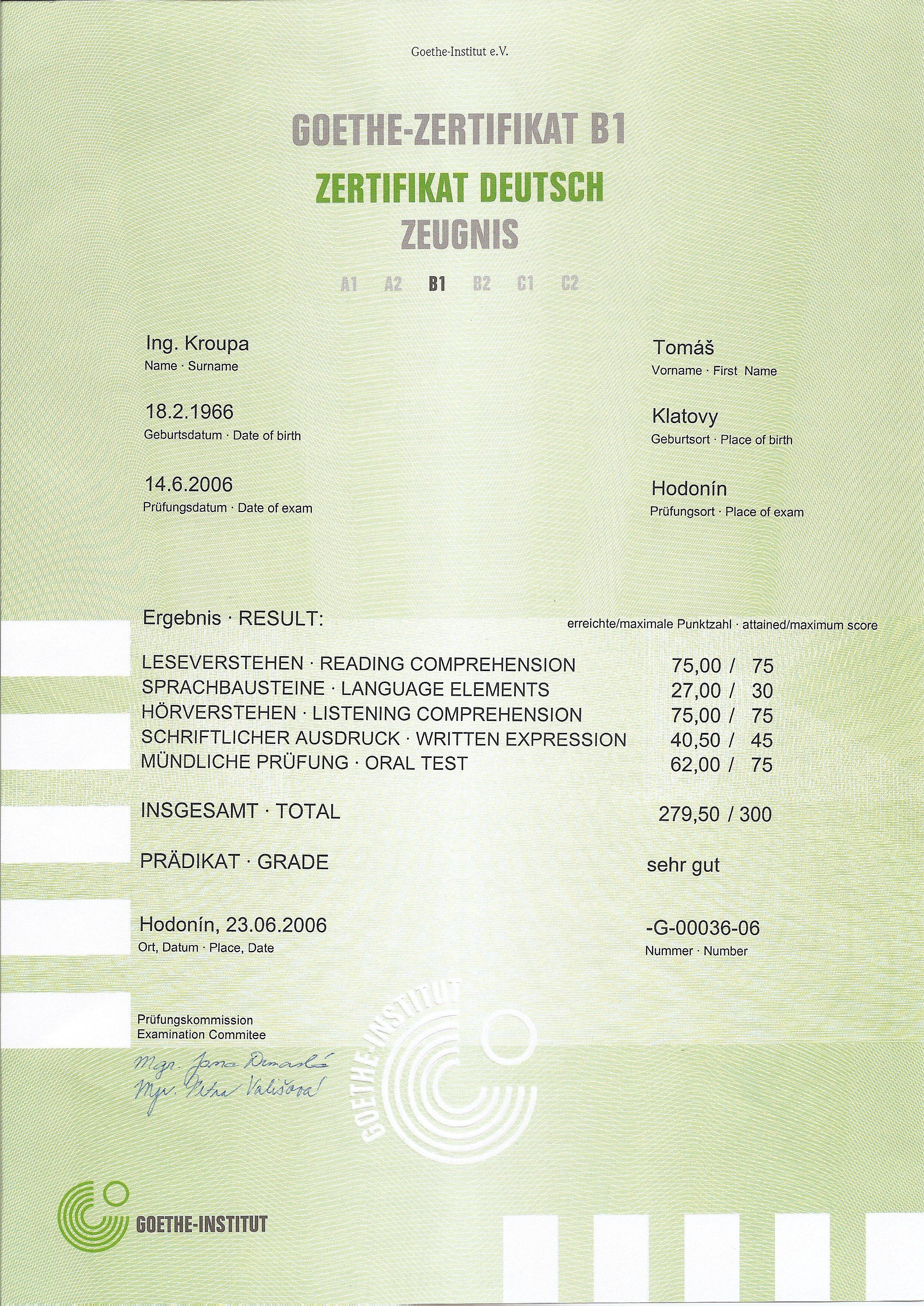 Zertifikat Deutsch B1
